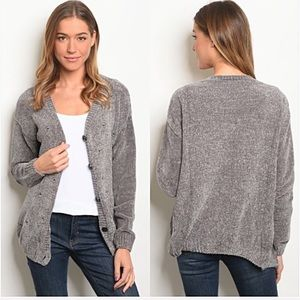 Softest Ever Chenille Bow Cardi Sweater SML